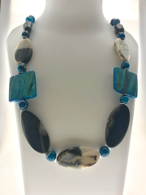 Star Jewels- Modern Designer Semi Precious Stone & Fashion Jewelry Smart Mother of Pearl and Black Onyx Plate Necklace; In Combinations of Blue, Adorned with Sliver Hematite Stone Flaps (22 Inches)