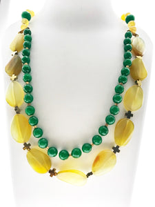 Star Jewels- Modern Designer Semi Precious Stone & Fashion Jewelry Charming Double Line Green Beads and Yellow Onyx Necklace with Real Hematite Stone (24 Inches)