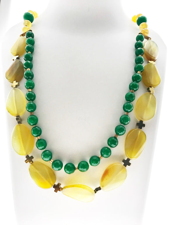 Charming Double Line Green Beads and Yellow Onyx Necklace with Real Hematite Stone (24 Inches) - Starjewels