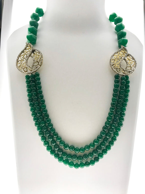 Star Jewels- Modern Designer Semi Precious Stone & Fashion Jewelry Attractive Three Line Green Gemstone Ensemble Enhanced with Art Elements (22 Inches)