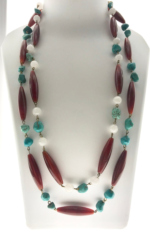 Star Jewels- Modern Designer Semi Precious Stone & Fashion Jewelry Charming Turquoise and Agate Double Line Necklace (22 Inches)