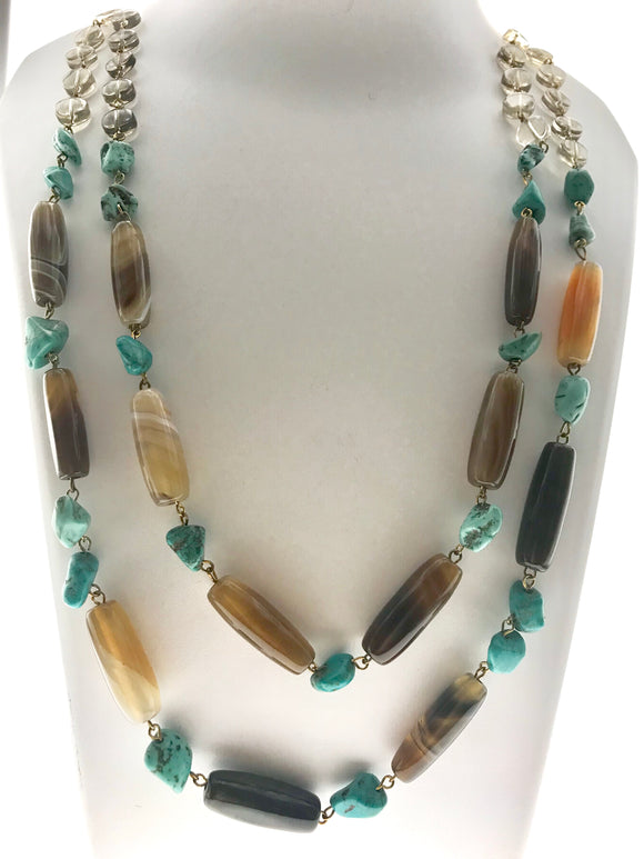 Smoky Topaz Blended with Agate and Turquoise to make a Beautiful Necklace (24 Inches) - Starjewels