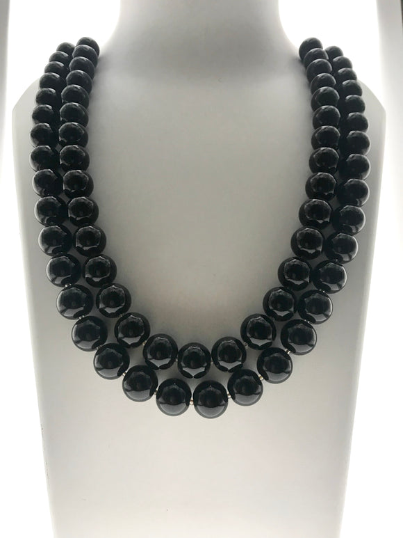 Classically Gorgeous Double Line Midnight Black Gemstone Necklace (20 Inches) - Starjewels