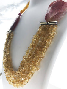 Star Jewels- Modern Designer Semi Precious Stone & Fashion Jewelry Magnificent Five Line Yellow Citrine with Pink and Yellow Agates - A Class Apart (26 Inches)
