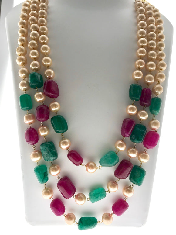 Beautiful Three Line Red and Green Gemstone Necklace (26 Inches extendable upto 46 Inches) - Starjewels