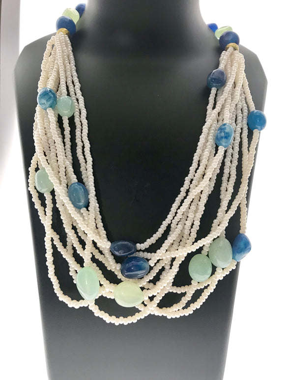 Star Jewels- Modern Designer Semi Precious Stone & Fashion Jewelry Charming Blue and Aqua Onyx Necklace Adorned in a Eleven Line Bead Ensemble (30 Inches)