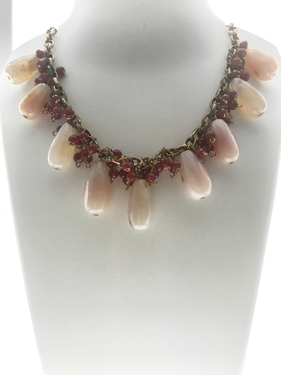 Stylish Necklace Made With Pink Gemstone Drops and Red Beads (20 Inches) - Starjewels