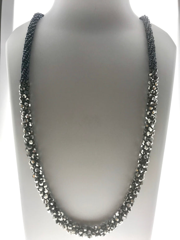 Delicate Fancy Necklace Hand Braided with Silver Colour Beads (28 Inches) - Starjewels