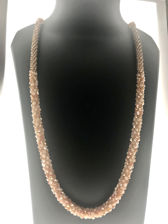 Delicate Fancy Hand Braided Peach Beads Necklace (28 Inches) - Starjewels