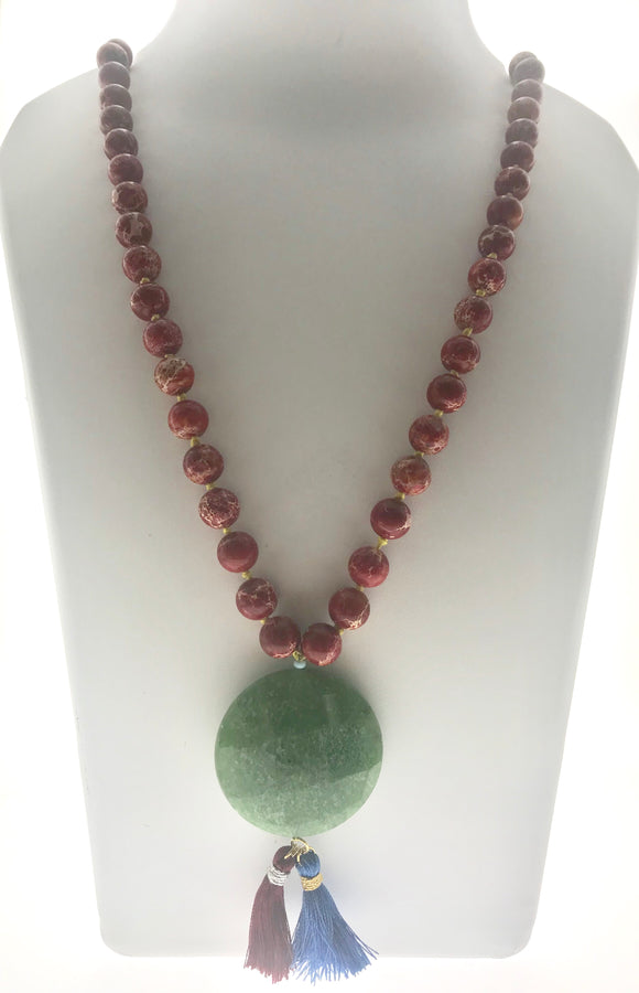 Delicate and Graceful Red Imperial Jasper Beads Hand-bound with a Natural Agate Pendant (30 Inches) - Starjewels