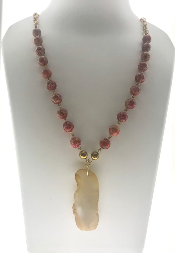 Delicate and Beautiful Red Imperial Jasper Beads Hand-bound with a Natural Agate Pendant (28 Inches) - Starjewels