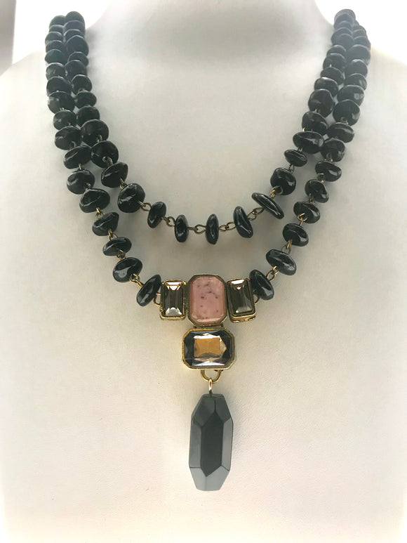 Star Jewels- Modern Designer Semi Precious Stone & Fashion Jewelry A Beautiful Two Line Black Agate Necklace - (20 Inches)