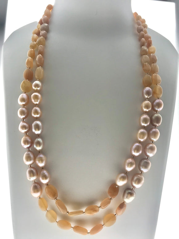Classic Double Line Moonstone Necklace with Peach Fresh Water Pearls (20 Inches) - Starjewels