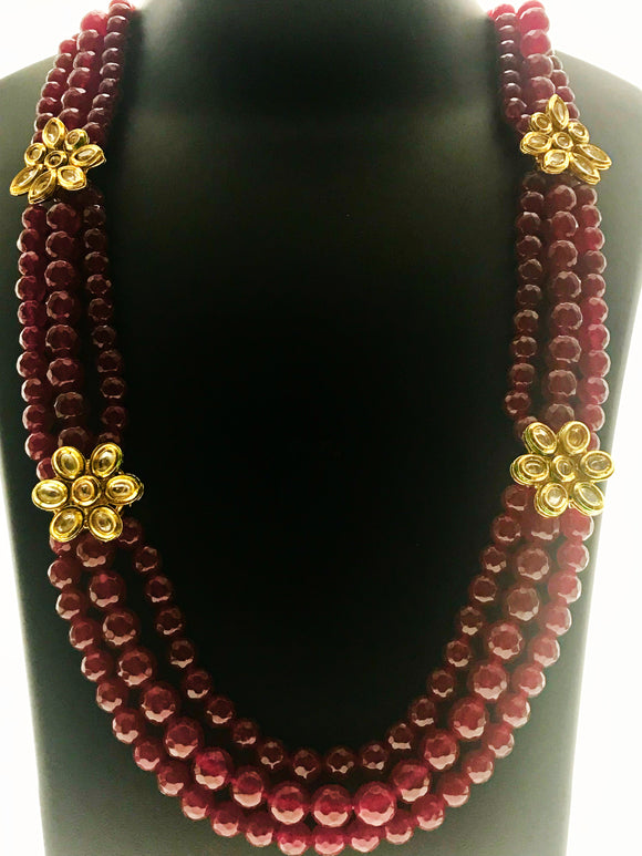 Star Jewels- Modern Designer Semi Precious Stone & Fashion Jewelry Attractive Three Line Red Necklace with Multiple Pendant Ornamentation (28 Inches)