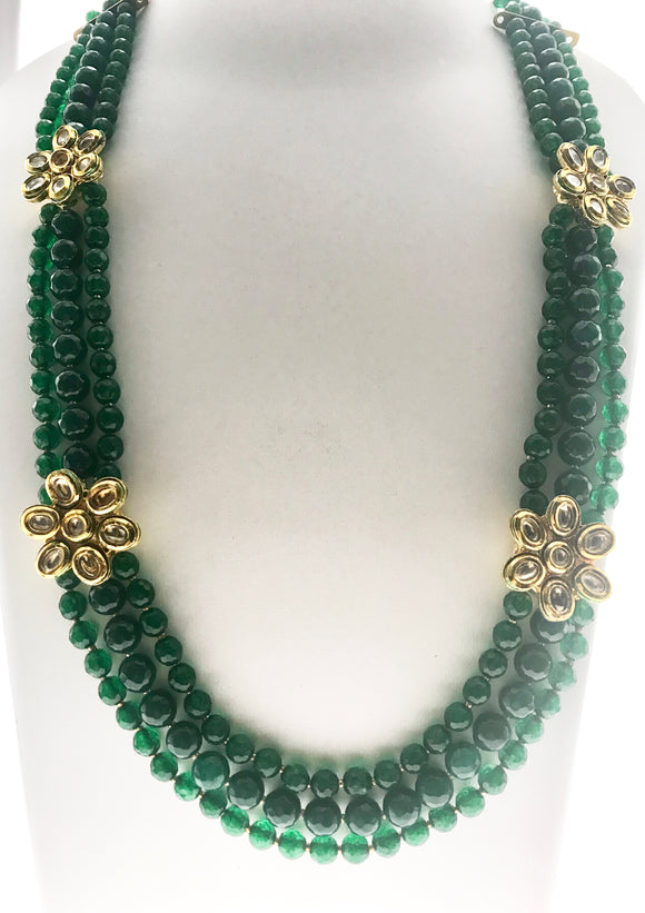 Attractive Three Line Green Necklace with Multiple Pendant Ornamentation (28 Inches) - Starjewels