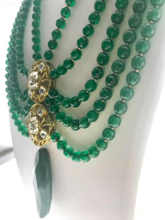 Star Jewels- Modern Designer Semi Precious Stone & Fashion Jewelry A Stunning Five Line Green Beads Necklace with a Green Agate Pendant and Artistic Kundan Motifs (27 Inches)