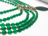 A Stunning Five Line Green Beads Necklace with a Green Agate Pendant and Artistic Kundan Motifs (27 Inches) - Starjewels