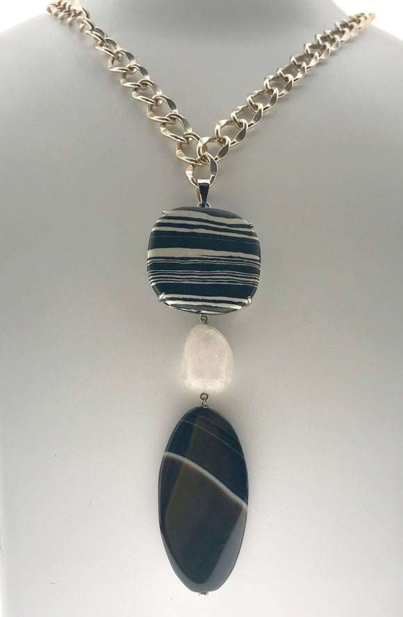 Endearing Rose Quartz, Black Onyx and Zebra Striped Plates Encased in a 92.5 Silver Pendant with an Imported Metal Chain (34 Inches) - Starjewels