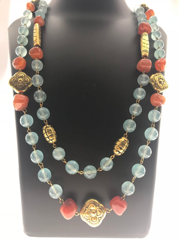 Star Jewels- Modern Designer Semi Precious Stone & Fashion Jewelry Brilliant Two Line Carnelian and Blue Gemstone Necklace with Stunning Metallic Gold Ornamentation (32 Inches)