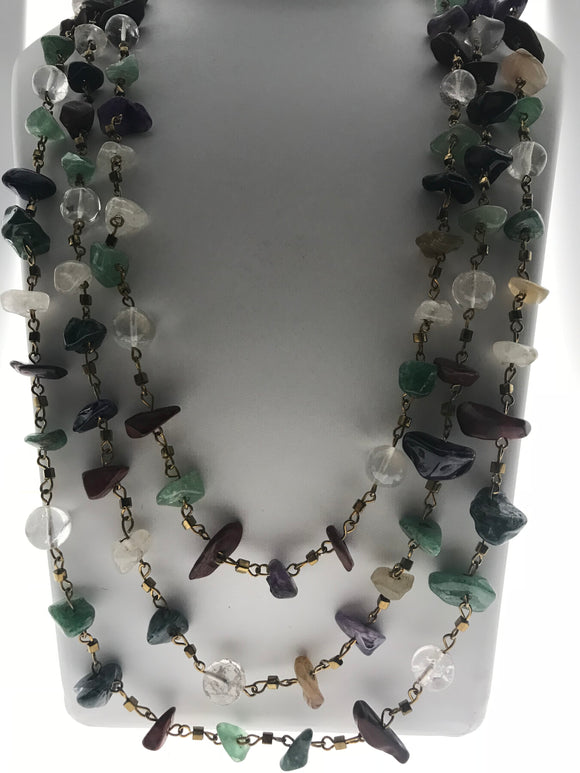 Striking Three Line Chain with Multi Coloured Rough Gemstones (30 Inches) - Starjewels