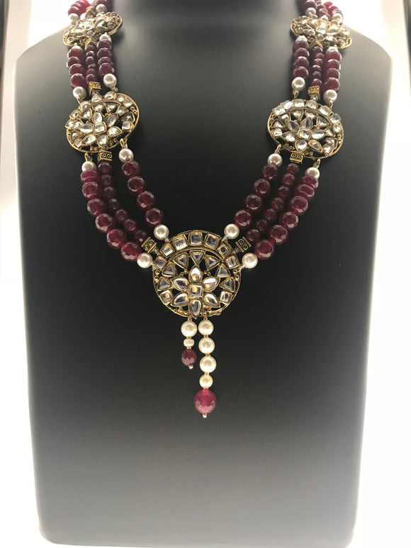 Radiant Red Stone Necklace Bound in Three Lines with Kundan Ornamentation (26 Inches) - Starjewels