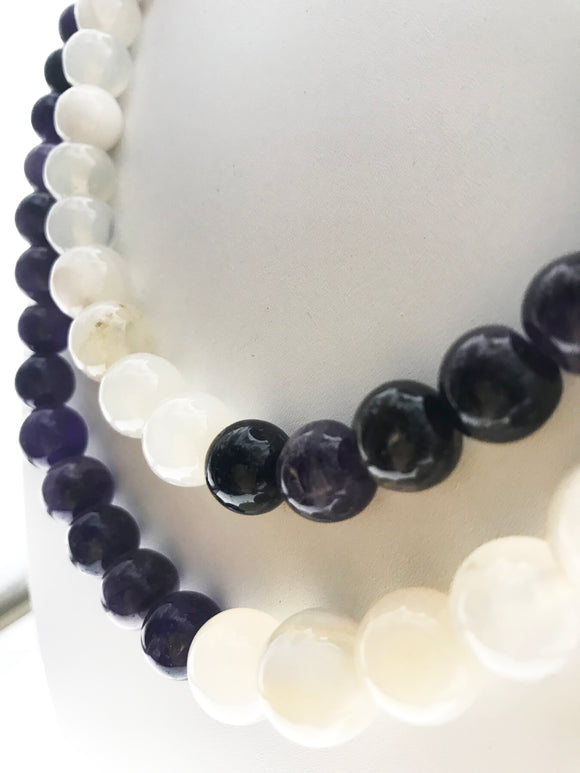 Classic Dual Design in Real Amethyst and White Agates (18 Inches) - Starjewels