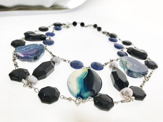 Star Jewels- Modern Designer Semi Precious Stone & Fashion Jewelry An Interesting Combination of Blue, Black and Coloured Gemstones in Different Shapes to Create a  Magnificent Neckpiece (20 Inches)