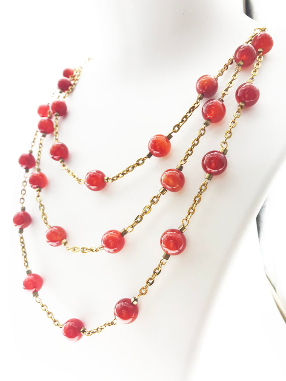 Smart Three Line Chain Bound with Carnelian Beads (28 Inches) - Starjewels