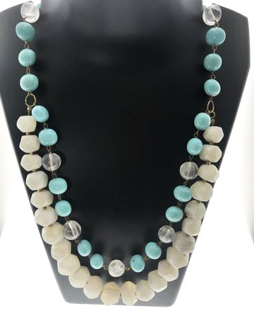 Star Jewels- Modern Designer Semi Precious Stone & Fashion Jewelry A Vibrant Combination of Turquoise, White Agates and Crystal - Standout Piece (28 Inches)