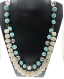 Star Jewels- Modern Designer Semi Precious Stone & Fashion Jewelry A Vibrant Combination of Blue Beads, White Agates and Crystal - Standout Piece (28 Inches)