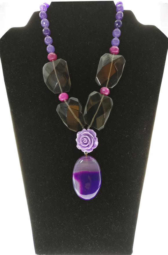 Charming Neck Piece Created with Purple Gemstones, Smoky Topaz and A Beautiful Agate Plate Pendant (16 Inches + 3 Inch Pendant)
