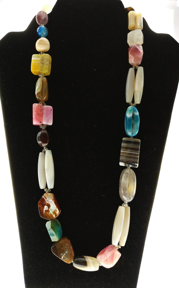Star Jewels- Modern Designer Semi Precious Stone & Fashion Jewelry A Medley of Different Coloured Natural Gemstones Bound into a Striking Neck Piece (24 Inches)