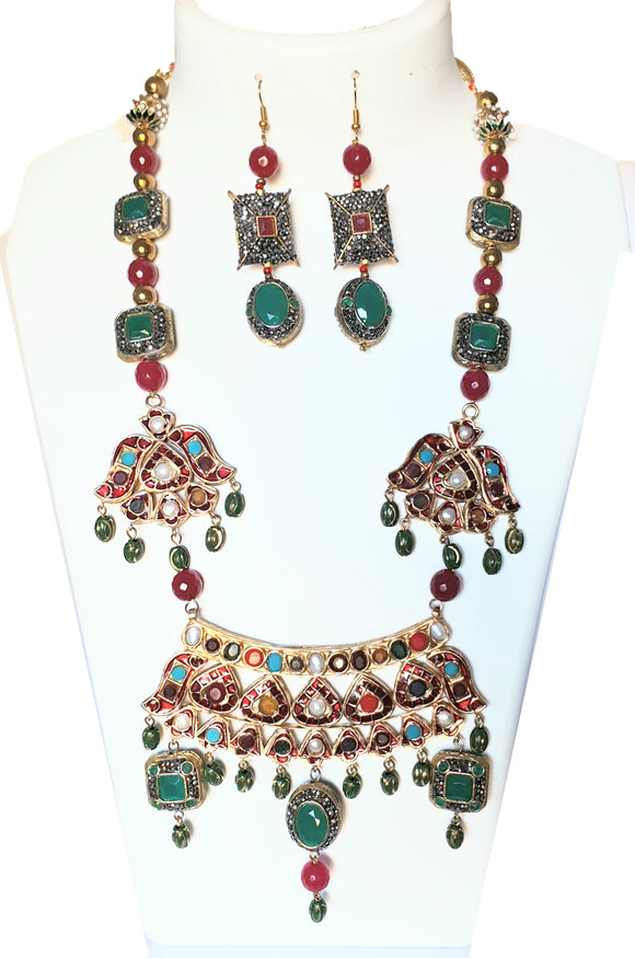 Star Jewels- Modern Designer Semi Precious Stone & Fashion Jewelry A Vibrant and Stand Out Meenakari and Red Jadau Neck Piece with Earring Set (17 Inches Extendible to 36 Inches)