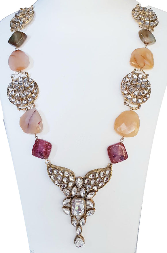 Star Jewels- Modern Designer Semi Precious Stone & Fashion Jewelry A Vivacious Marriage of Natural Opals with Agates and Kundan in Red Yellow and Diamond Coloured Elements (26 inches)