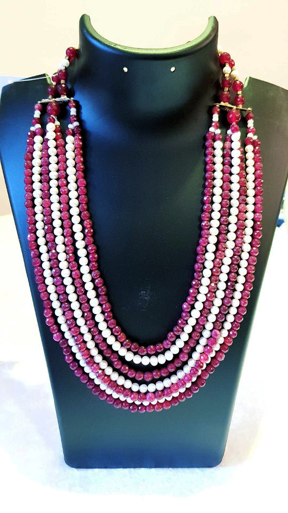 Star Jewels- Modern Designer Semi Precious Stone & Fashion Jewelry An amazing Seven Line Ensemble with Fresh Water Pearls and Red Gemstones (20 Inches from Inside + 1.75 Inch Width of Seven Lines)