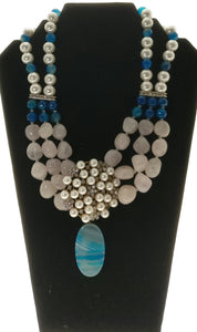 Star Jewels- Modern Designer Semi Precious Stone & Fashion Jewelry Beautiful Necklace Created with Blue and White Gemstones Embellished with a Striking Pendant (17 Inches + 4 Inch Pendant)