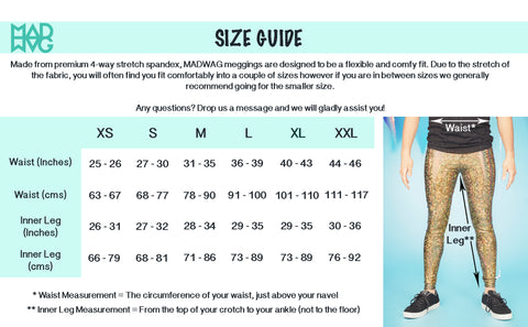 MADWAG meggings size guide