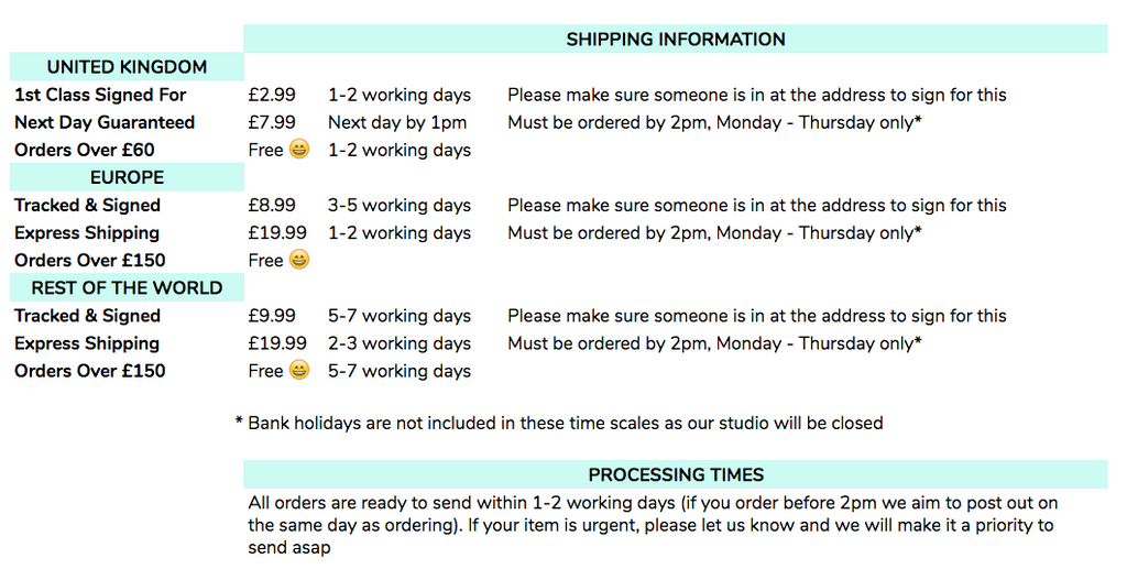 MADWAG Shipping Information