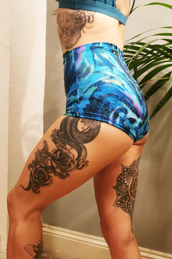 Mermaid Glitter Blue High Waisted Hot Pants Printed Patterned MADWAG Festival Booty Shorts