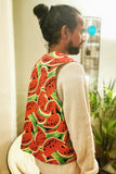 Red Watermelon Reversible Waistcoat with Gold Metallic Reverse Festival Fashion