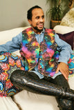 Cosmic Galaxy Stars Colourful Patterned Waistcoat Reversible Gold Festival MADWAG Buttoned