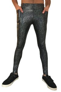 Black Holographic Meggings With Pockets Men's Leggings MADWAG Festival Fashion