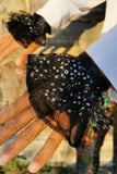 Black Sequin Wrist Cuffs Clown Costume Halloween Neck Ruffle MADWAG