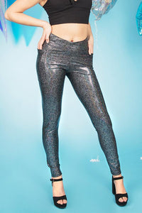 Black Holographic Leggings With Pockets Women's Sparkly Leggings Festival Pants MADWAG