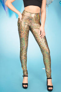 Gold Holographic Festival Leggings Sparkly Pants MADWAG