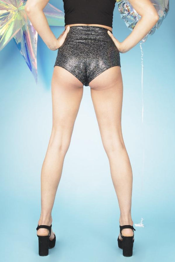 Black Holographic High Waisted Hot Pants Festival Shorts MADWAG