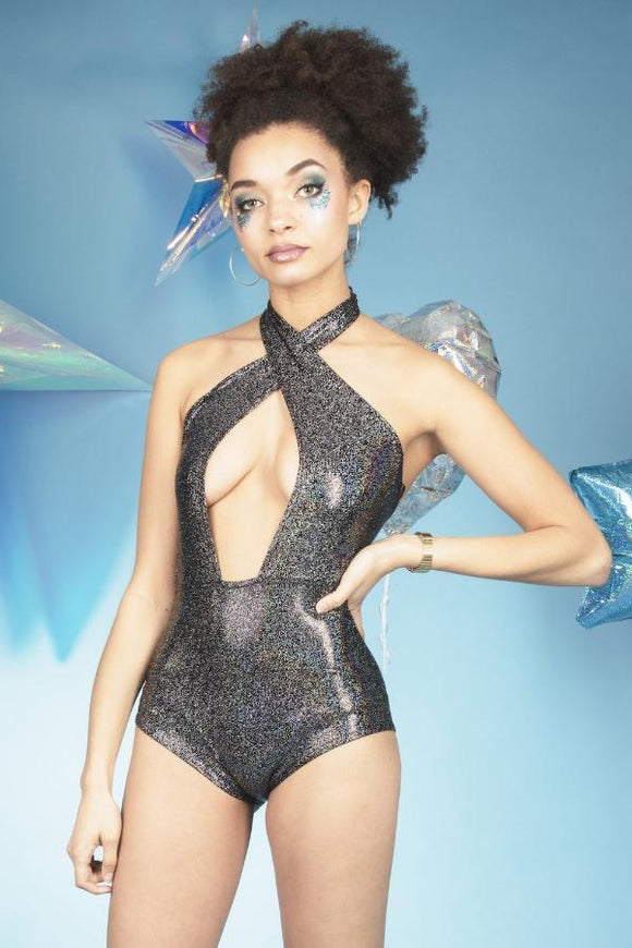 Black Holographic Deep Plunge Cross Halter Neck Leotard Festival Outfit MADWAG