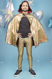 Holographic Gold and Red Reversible Hooded Cape Men's Festival Cape MADWAG