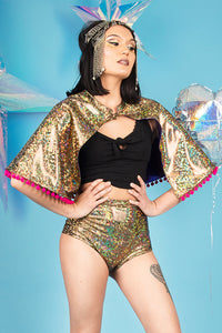 Gold Holographic Festival Cape Pom Poms Reversible MADWAG