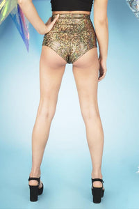 Holographic Gold High Waisted Hot Pants Festival Outfit MADWAG